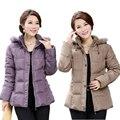 2015 Jaqueta de Inverno Mulheres de Meia Idade do Sexo Feminino Plus Size Gola De Pele casaco de Algodão Com Capuz Para Baixo Casacos de Inverno Mulheres Parka XL-5XL