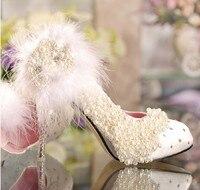 Весна Роскошные кружева цветок имитация принцессы с жемчугом туфли лодочки Свадебная обувь свадебные туфли со стразами на платформе попул