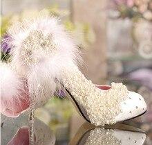 Spring Luxury lace flower Imitation pearl princess pumps Bridal Shoes wedding Shoes platform rhinestone  Popular Wedding Shoes