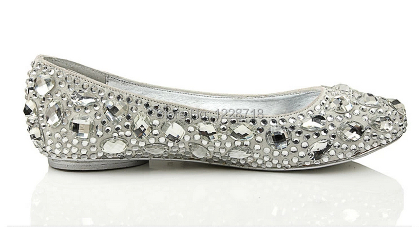 silver crystal bling bling bride flats diamond wedding shoes ...