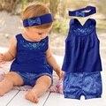 Yayabb baby girl roupas de verão recém-nascidos roupas para meninas do bebê floral azul manga romper + bandana + calças roupas de bebe de menina
