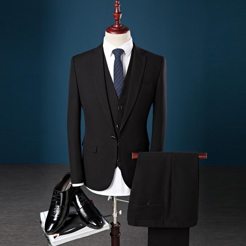 Slim Business Nouveau Mode Trois Noir Costumes De bleu Pièces Printemps Parti Fit Casual Mariage 2019 Marié Gilet Pantalon fuchsia Costume Hommes veste Robe wqvR80