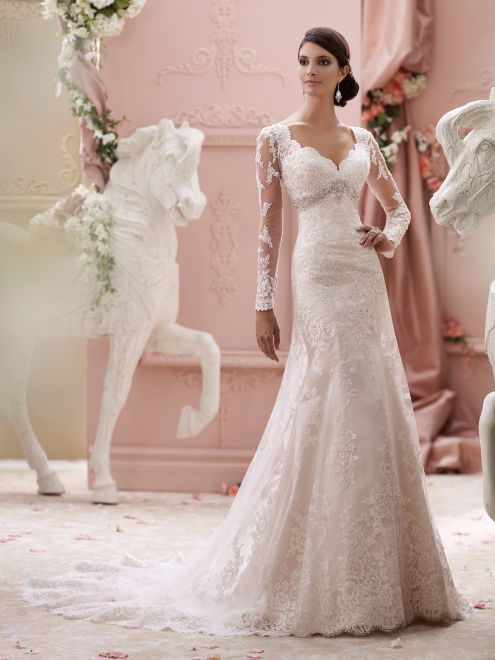 Mermaid Wedding Dress 2015 Full Sleeves Lace Appliqued Transparent ...