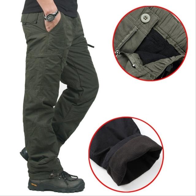 Homens Quentes de Inverno Calças Grossas de alta Qualidade Dupla Camada de Camuflagem Do Exército Militar Tático Calças de Algodão Para Homens Roupas de Marca