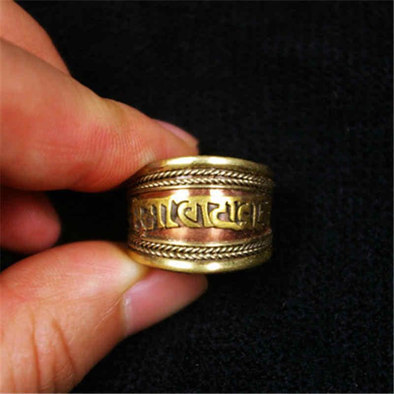R115 สีแดงทิเบตทองเหลือง Mantras Man แหวนทิเบต OM MANI PADME HUM Amulet เปิดแหวนปรับ