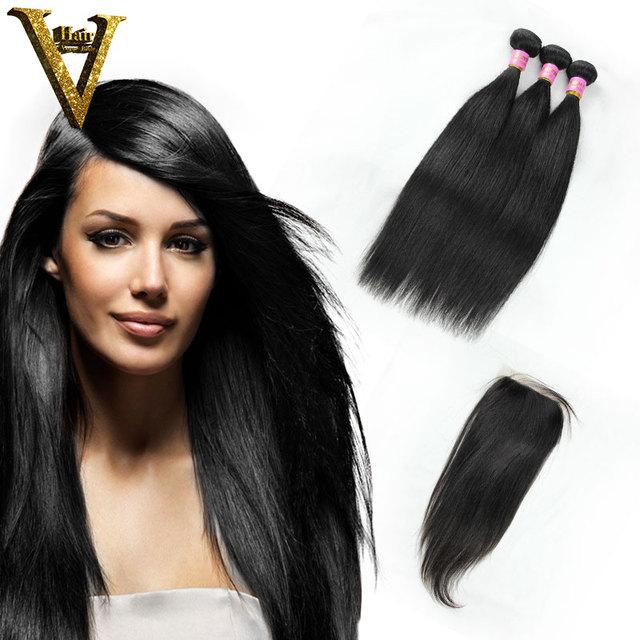 Grade 6A Hair 1Pcs Lace Top Closure With 3Pcs Hair Bundle Cheap Virgin Malaysian Straight Hair 4Pcs Lot With Closure