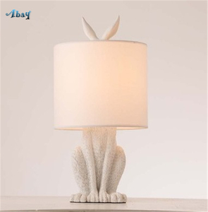 Image 2 - Resin Rabbit Table Lamps Bedroom Living Room Coffee Shop Learning Childrens Room Bedside Lamp Home Decoration Table Lights LED
