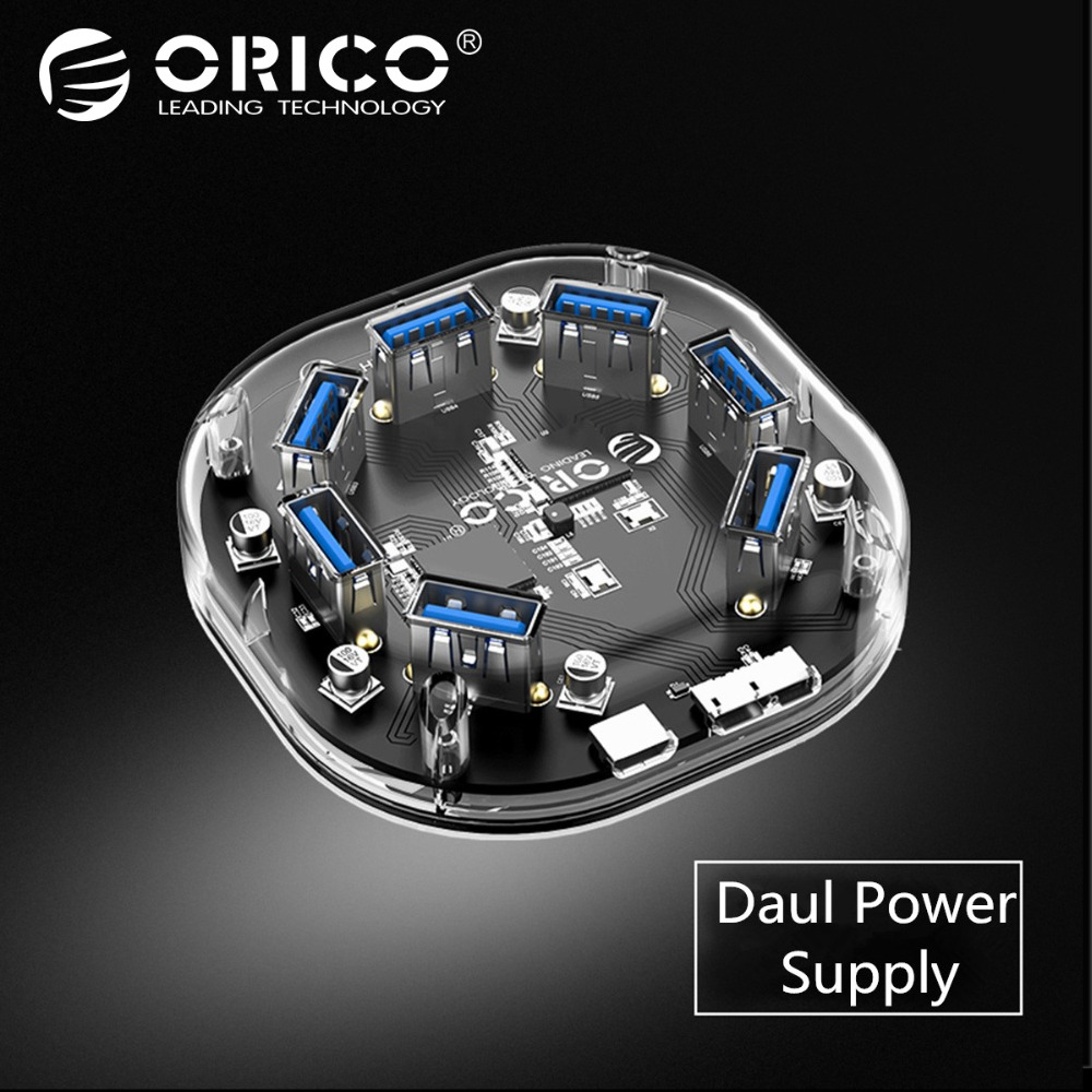 ORICO Transparent HUB High Speed 7 Ports USB 3.0 5Gbps USB HUB Portable OTG Hub USB Splitt