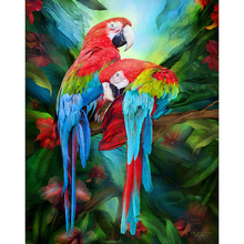 3D DIY Diamond Painting Two Parrots Mosaic Crystal 5D Cross Stitch Square Drill  Embroidery Sticker Decoration Paintings