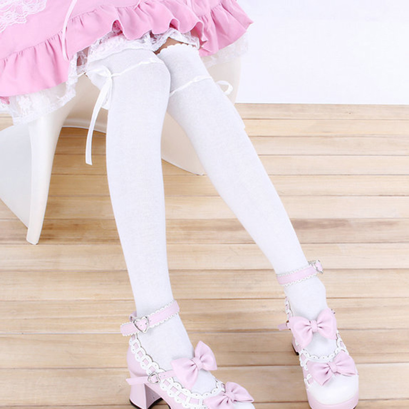 ZOCBBT Free Size Japan Cosplay Solid Color Stockings 60cm Long Christmas Girl Student Women Sexy White Black Lolita Kawaii XL
