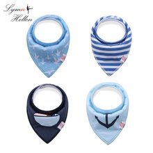 Triangle Waterproof Bibs 4PCS Newborn Bandana Burp Teething Drooling Towel Baby Feed Meal Care Soft Cotton Cloth Kids Lunch Bib(China)
