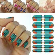 K5676 2016 Latest Beauty Fashion Nail Art Designs Full Nails Wraps Sticker Green Orange Tartan Pattern