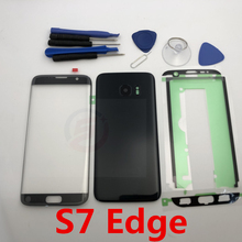 Front Screen Glass Lens for Samsung Galaxy S7 Edge G935 G935F SM G935F G935FD Rear Battery Cover Door Back Housing with Adhesive