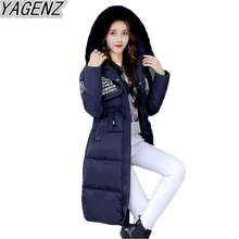 Winter New Cotton Clothing Women's 2017 Fashion Big fur collar Hooded Cotton Jacket Female Large size Cotton Padded Overcoat 504