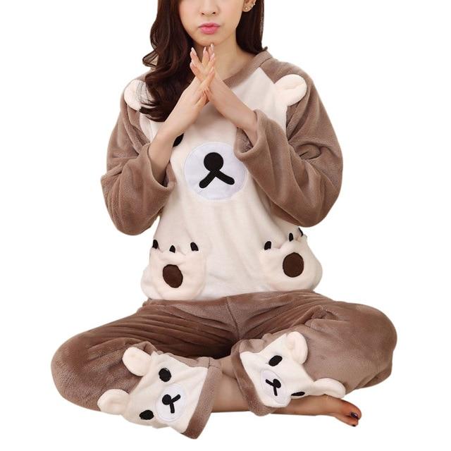 Nuevas Mujeres Dets Pijama Mujer ropa de Dormir de Franela Pijamas de Dibujos Animados Caliente