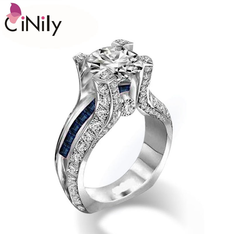 Cinily Ring-Set Jewelry Engagement Silver-Plated White Women Size-6-8 Zirconia for NJ19-20