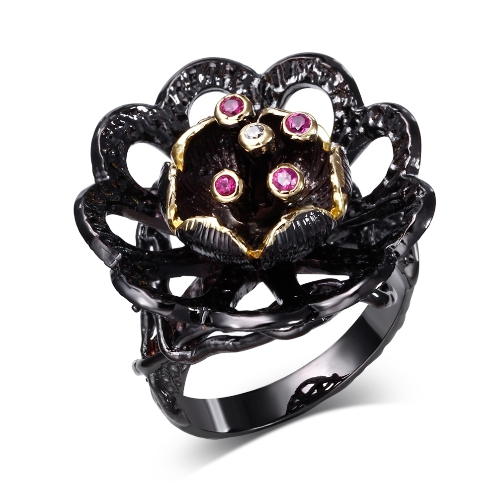 Black Ring with AAA CZ stone black color Ring Unique Designer's rings for girl fashion jewelry Free shipment full size