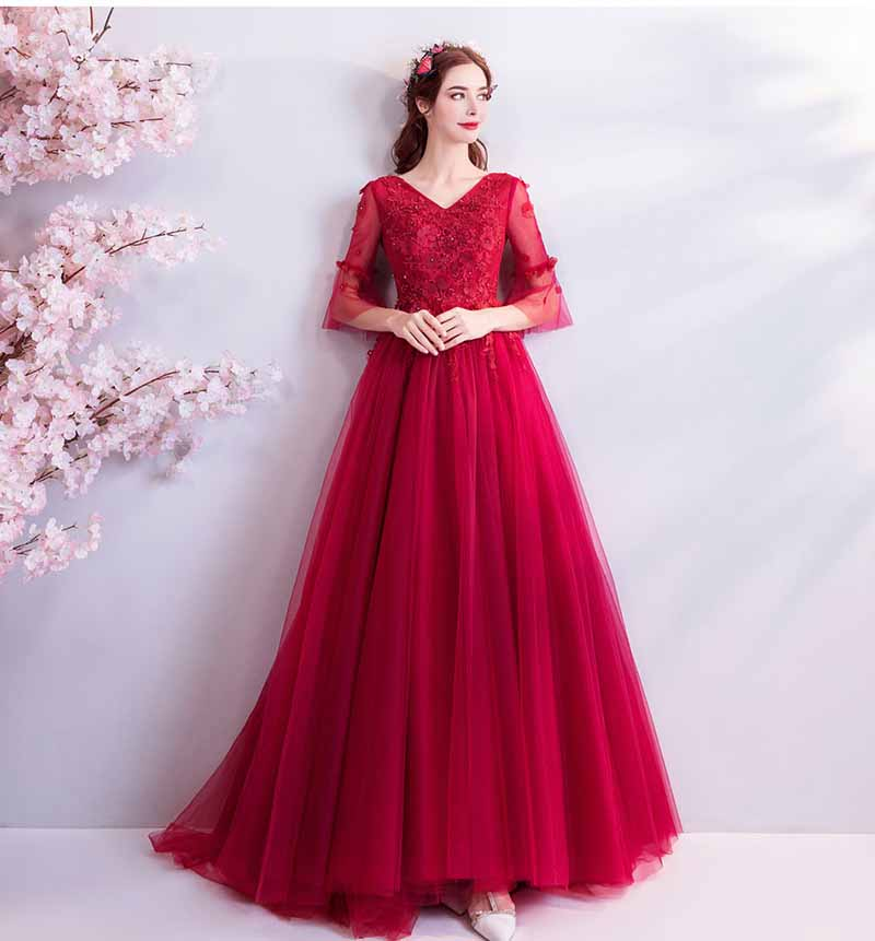 f0fae08ed55 Dentelle Broderie De Formelle Main Perles Spectacle Mariage Robes Up Soirée  Rouge Luxe La Red Robe Grande Tapis À Taille Accrocheur 4qwFY50x