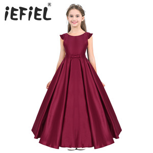 Image 1 - New Arrival Girls Satin Ruffled Fly Sleeves Bowknot Flower Girl Dress Princess Pageant Wedding Bridesmaid Birthday Party Dress