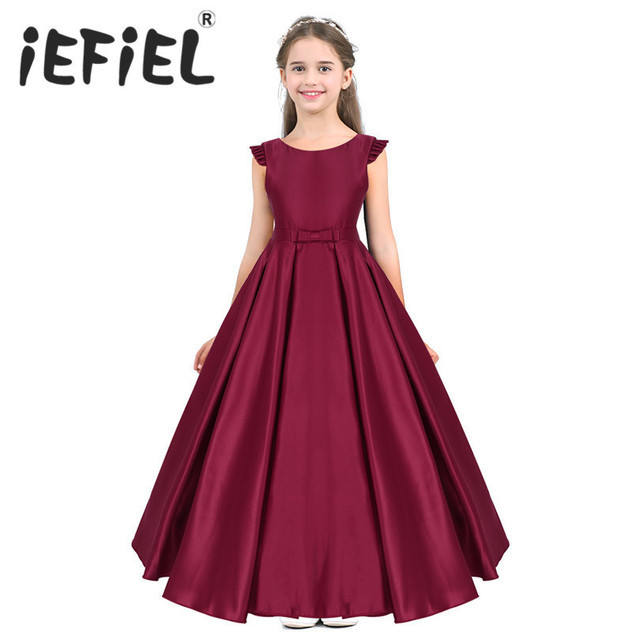 New Arrival Girls Satin Ruffled Fly Sleeves Bowknot Flower Girl Dress Princess Pageant Wedding Bridesmaid Birthday Party Dress