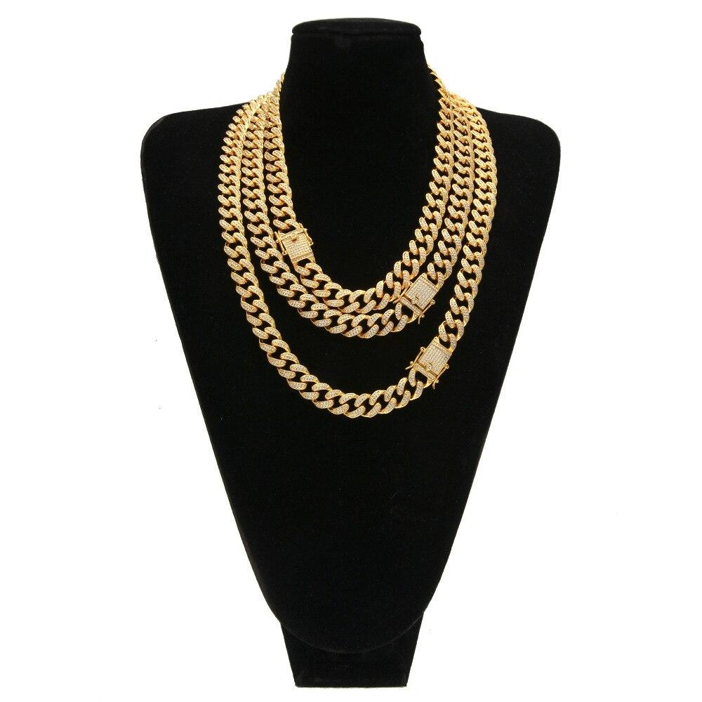 13 MM Miami chaînes à maillons cubains hommes or argent Bling CZ lourd ras du cou glacé colliers pour femmes bijoux Hip Hop