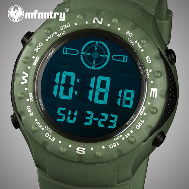 INFANTRY Mens Watches LED Digital Aviator Sports Watches Rubber Strap Quartz-watches Tactical Alarm Clock 2017 Relogio Masculino