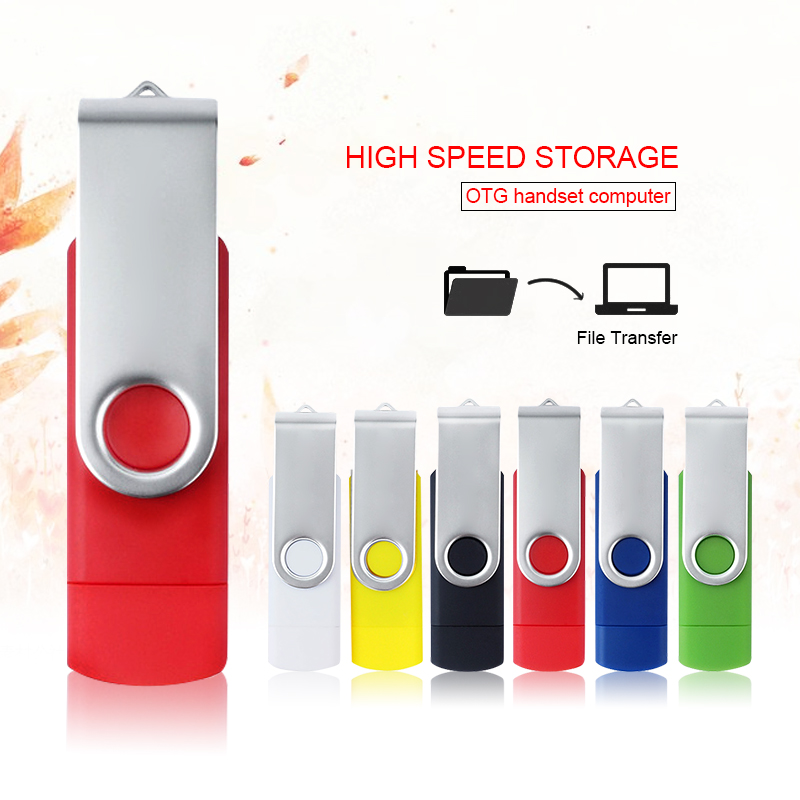 J2B High Speed Rotate Usb Flash Drive OTG 64GB 32GB 16GB USB2.0 Pen Drive Memory Cheap Pendrive Otg Usb Disk Stick Menoria Usb