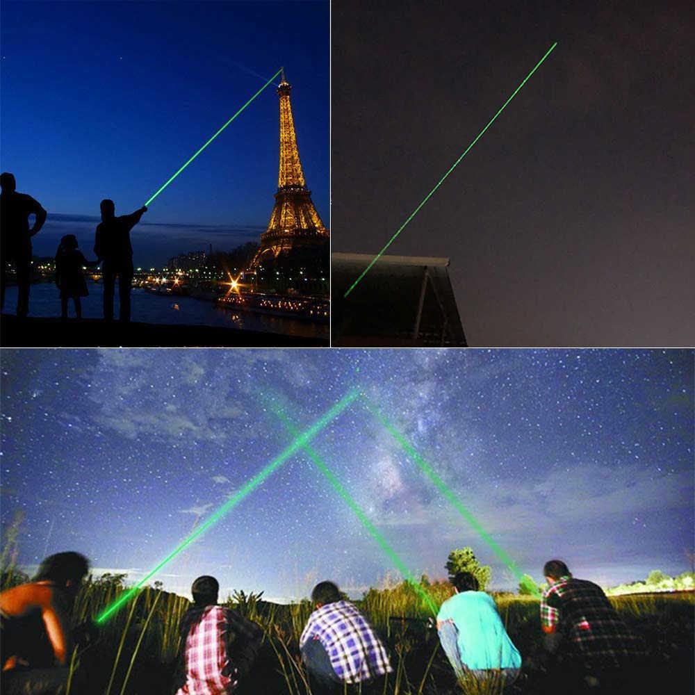 Ponteiro de visão a laser poderoso, ponteiro poderoso com foco ajustável e verde, com caneta a laser, jogo de queima de cabeça, 10000m 532nm
