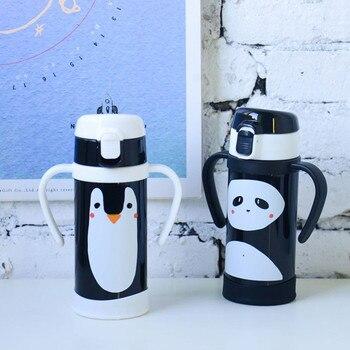 мини пластиковые бутылки | 304 термос с изоляцией из нержавеющей стали, бутылка панда Пингвин, кофейная чашка с соломинкой, портативная термобутылка для воды, подарок д...
