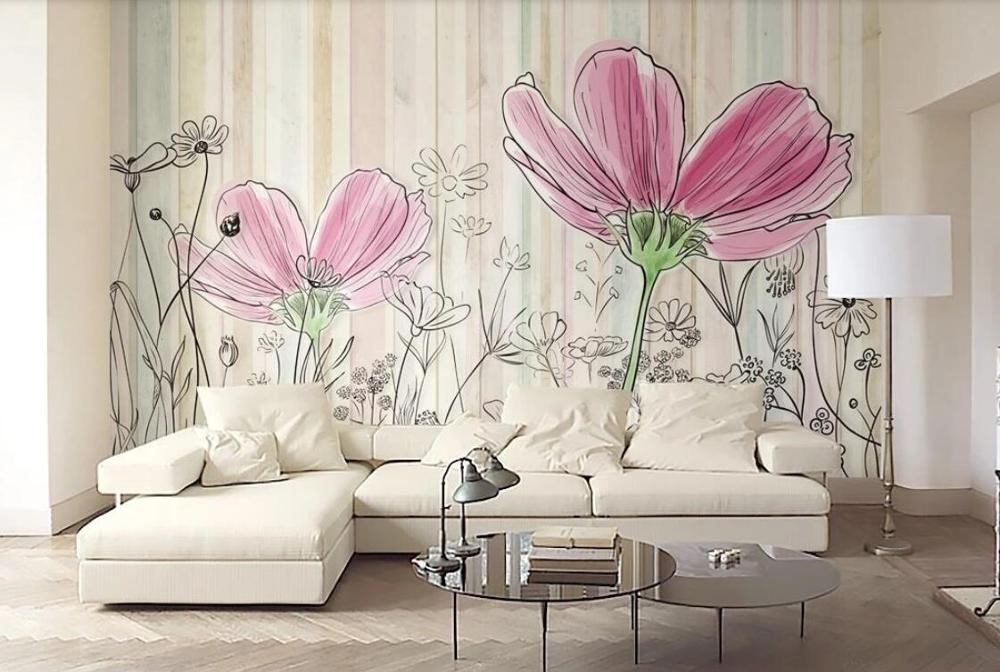 Private custom color wood plank texture line flower TV sofa living room bedroom background wallpaper mural
