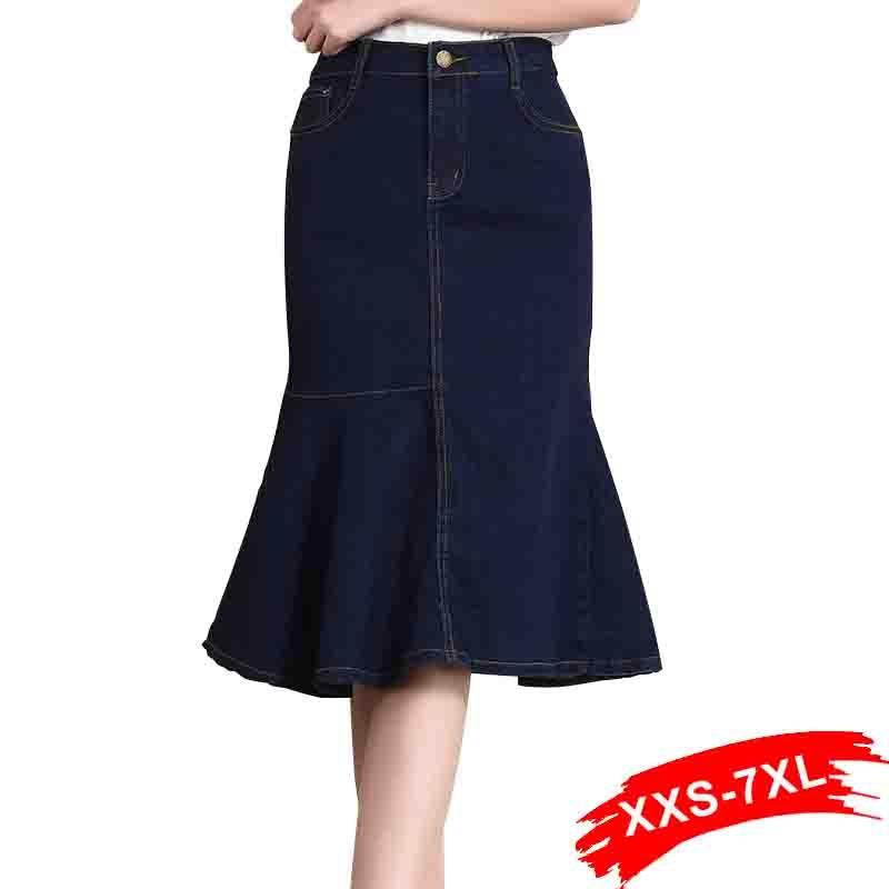 e7aaa2d0977fe0 ... Irregular dobladillo de verano jeans de mamá. Cheap Faldas de mezclilla  azul oscuro de talla grande 7XL faldas sexis de trompeta de cintura