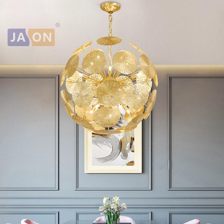LED Postmodern Copper Leaf Globe LED Lamp LED Light.Pendant Lights.Pendant Lamp.Pendant light For Dinning Room Foyer|Pendant Lights| |  - title=