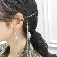 Korean women fashion long tassel asymmetry earrings charm sparkling rhinestone fringe earring hair clip 2019 accessories R31