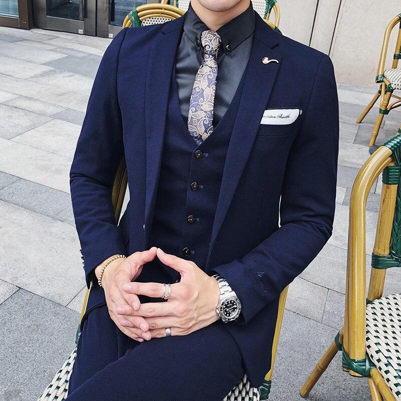 Pure Color Men Formal Dress Suits Asia Size 3XL Mens Suit Jacket with Pants and Vests 8 Colors Men Wedding Suits Slim Tuxedo