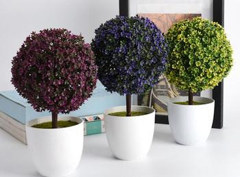 20pcs new Welcoming Sakura Emulate Bonsai Simulation Decorative Artificial Flowers Fake Green Pot Plants Ornaments Home Decor