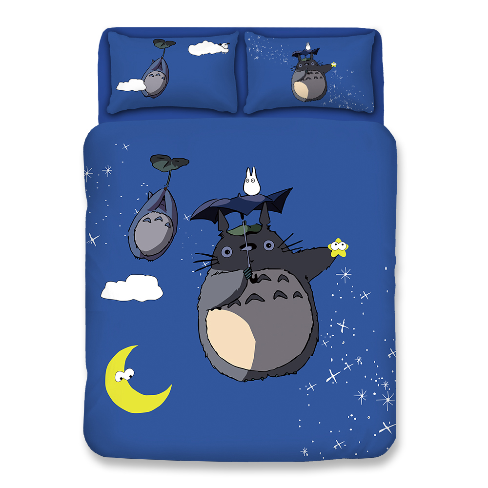 Cartoon Totoro Kawaii Bedding Twin Full Queen Single Double Super King Size Duvet Cover Set Kid
