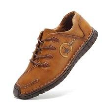 Мужская повседневная Обувь натуральная кожа Обувь мужские оксфорды модная обувь Открытый ручной работы зимние