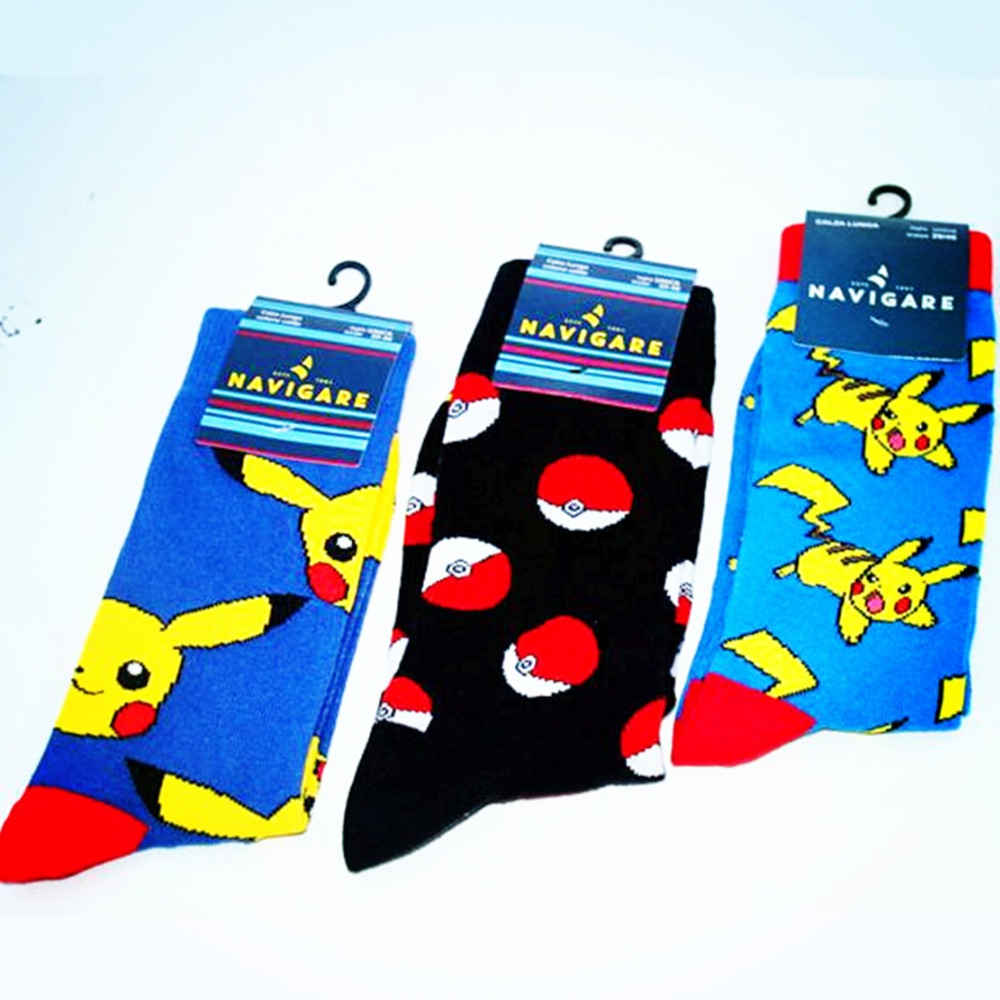 Cartoon comic Pokemon Pokeball   socks   Captain America Novelty funny comfort red woman cool   Sock   ankle hip hop skarpetki meskie