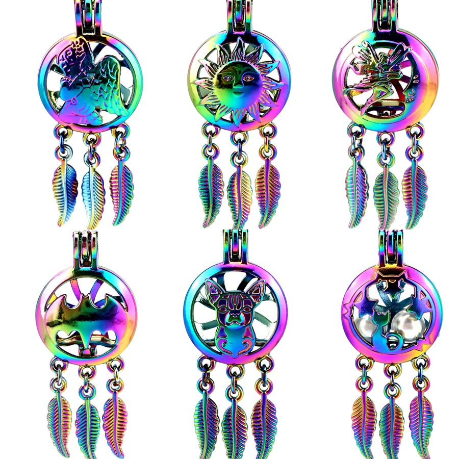 2X Silver Plated Round Musical Note Dream Catcher Pearl Cage DIY Pendant Craft