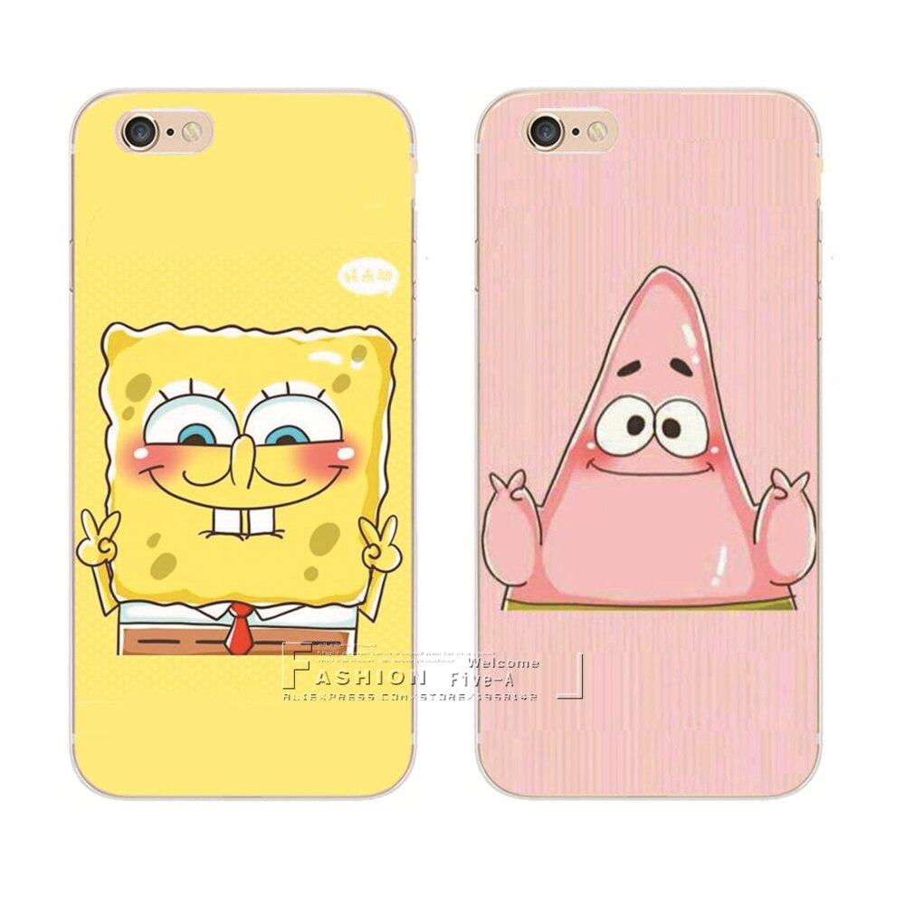 Best Friend SpongeBob Patrick Protective Phone Case Cover For Apple iPhone 8 X 4 4S 5 5S SE 5C 6 6S 7 Plus 6SPlus