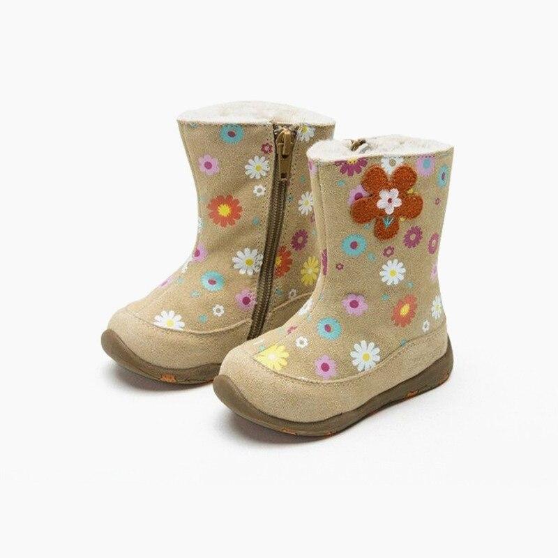 NEW 1pair Children girl Genuine Leather Snow Boot+inner wool,New Girl lovely kids Fashion Boot цена