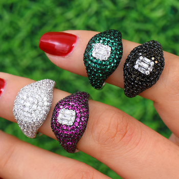 GODKI New Collection Stacks Heart AAA Cubic Zircon Stackable Chic Ring For Women Wedding DUBAI Bridal Statement Finger Ring 2019