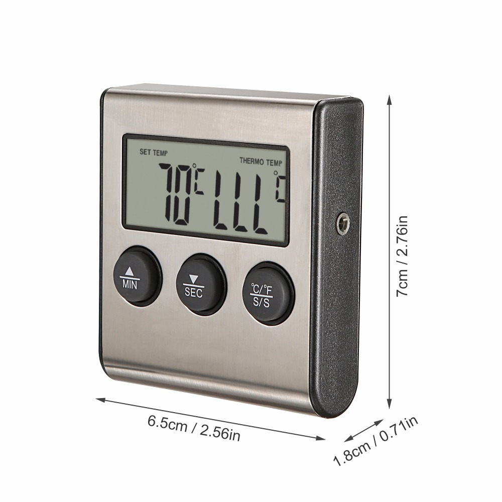 MOSEKO Digital Food Thermometer with High Temperature Alarm Function and 0 to 250 Degree Celsius Temperature Range Made of Stainless Steel 5