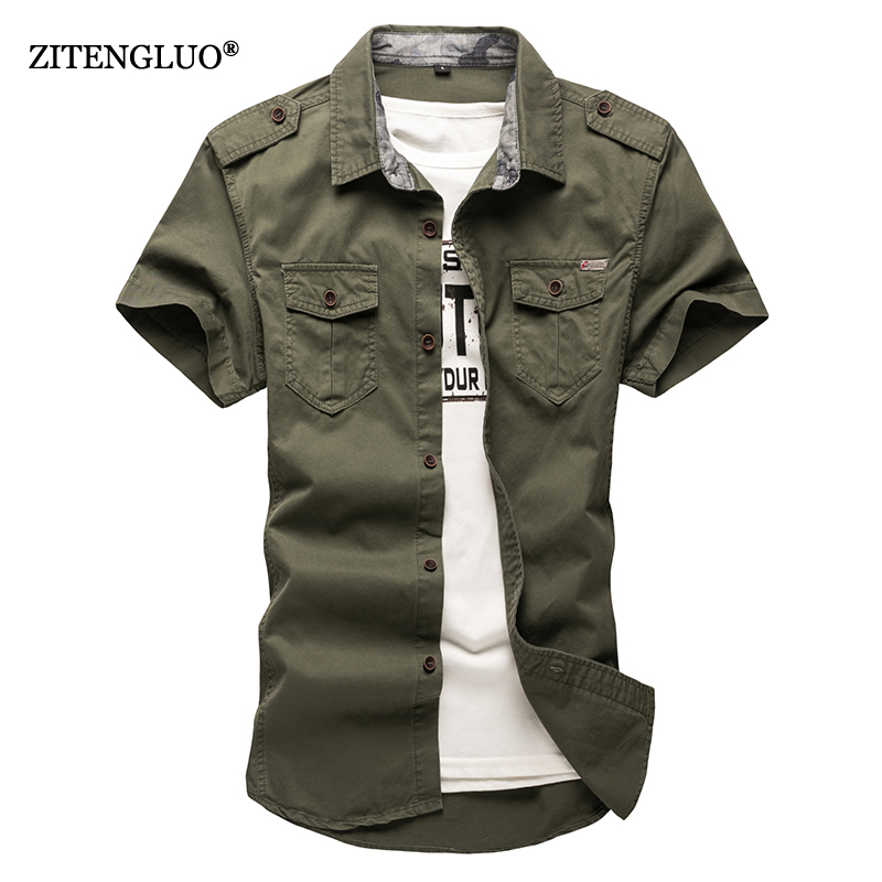 ZiTengLuo 2018 new Cotton Short sleeve shirts for Mens Plus Size Military Uniform Loose Shirt Casual Cotton-Padded Army Shirts