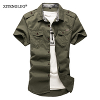 ZiTengLuo 2018 new Cotton Short sleeve shirts for Mens Plus Size Military Uniform Loose Shirt Casual Cotton Padded Army Shirts