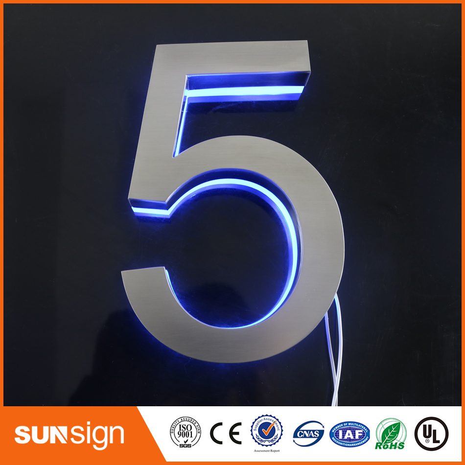 Stainless Steel Shell Acrylic & Apartment LED Numbers And Company Name Size H150MM(Custom) Blue Led