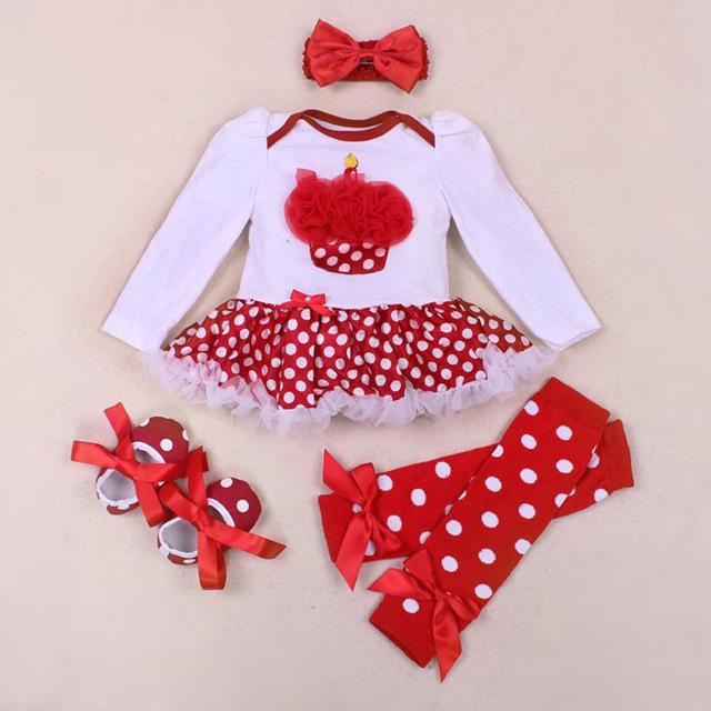 4 Unids por Conjuntos de Bebé Ropa de la Muchacha Roja Recién Nacidos de los Bebés primero segundo Cumpleaños Del Tutú Del Satén Zapatos de Vestir Polainas Diadema