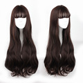 70cm Dark Brown Curly Wig With Bang Full Lace Human Synthetic Wigs Japanese Korean Natural Daily Hair High Temperature Fiber