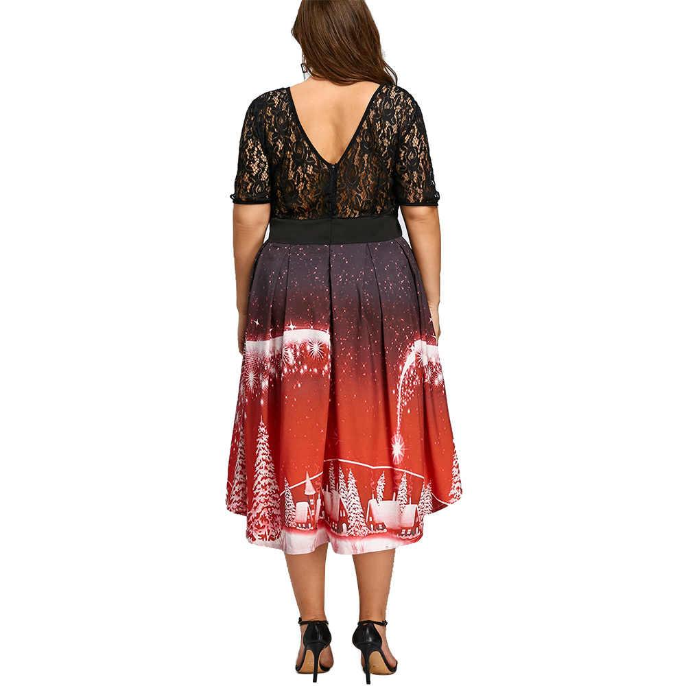 96c60a1e07 Gamiss Christmas Party Lace Panel Dress Plus Size XL-5XL Rockabily Vintage  Princess Dress Women Autumn Cute Robes Femme Vestidos