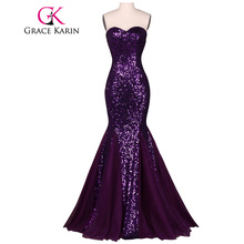 Grace Karin Sequin Long Evening Dress 2017 Sparkly Dark Salmon Purple Elegant Formal Dresses Mermaid Evening Gowns High Quality